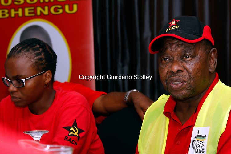DURBAN - 2 February 2014 - Blade Nzimande (Right), the secretary general of the SA Communist Party speaks at a press conference where the party in KwaZulu-Natal launches its election campaign in support of the ruling African National Congress. Nzimande accused the National Union of Metal Workers leadersip of going against the ANC. Looking on from left are the party's provincial secretary Themba Mthembu and the provincial deputy chairwoman Nomarashiya Caluza.   Picture: Allied Picture Press/APP