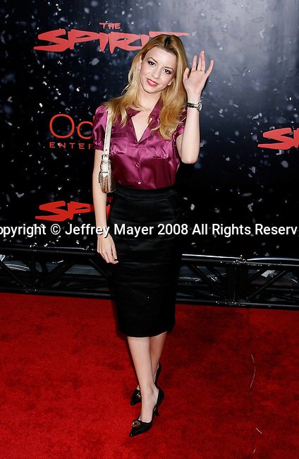 """HOLLYWOOD, CA. - December 17: Actress Masiela Lusha arrives at the Los Angeles premiere of """"The Spirit"""" at the Grauman's Chinese Theater on December 17, 2008 in Hollywood, California."""
