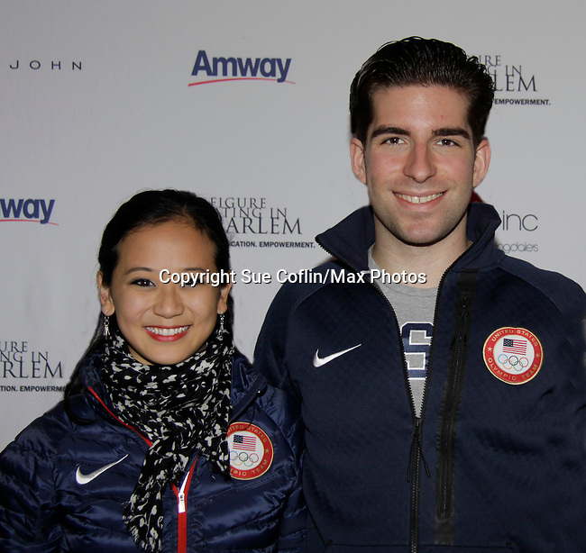 Felicia Zhang, Nathan Bartholomay (American pair skaters) & Polina Edmunds - Skating with the Stars - a benefit gala for Figure Skating in Harlem in its 17th year is celebrated with many US, World and Olympic Skaters honoring Michelle Kwan and Jeff Treedy on April 7, 2014 at Trump Rink, Central Park, New York City, New York. (Photo by Sue Coflin/Max Photos)