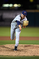 Lancaster JetHawks relief pitcher Matt Dennis (29) follows through on his delivery during a California League game against the Inland Empire 66ers at San Manuel Stadium on May 18, 2018 in San Bernardino, California. Lancaster defeated Inland Empire 5-3. (Zachary Lucy/Four Seam Images)