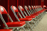 Chairs lined up in front of lockers in the Buckeye's locker room at Ohio Stadium Thursday, May 20, 2004 in Columbus, Ohio.