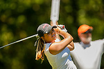 STILLWATER, OK - MAY 21: Lauren Stephenson of Alabama tees off during the Division I Women's Golf Individual Championship held at the Karsten Creek Golf Club on May 21, 2018 in Stillwater, Oklahoma. (Photo by Shane Bevel/NCAA Photos via Getty Images)