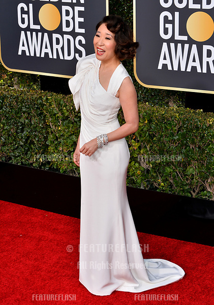 LOS ANGELES, CA. January 06, 2019: Sandra Oh at the 2019 Golden Globe Awards at the Beverly Hilton Hotel.<br /> Picture: Paul Smith/Featureflash