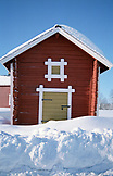 SWEDEN, Swedish Lapland, Traditional Red Wooden Hut
