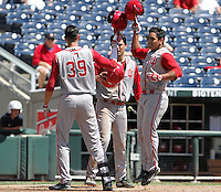 Laren Eustace is congratulated by teammates after his home run in the eighth inning. Indiana's 6-2 win eliminated Nebraska from the Big Ten Tournament at TD Ameritrade Park in Omaha, Neb. on May 26, 2016. (Photo by Michelle Bishop)
