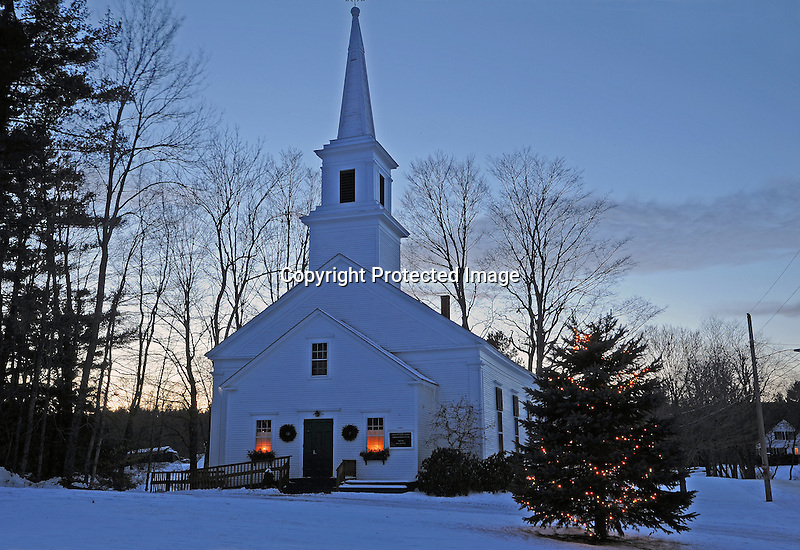Christmas Eve Lights at the Methodist Church in the Village of Marlow, New Hampshire