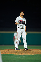 Rochester Red Wings pitcher Andrew Vasquez (50) during an International League game against the Pawtucket Red Sox on June 28, 2019 at Frontier Field in Rochester, New York.  Pawtucket defeated Rochester 8-5.  (Mike Janes/Four Seam Images)