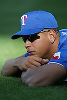 Alex Rodriguez of the Texas Rangers before a 2002 MLB season game against the Los Angeles Angels at Angel Stadium, in Los Angeles, California. (Larry Goren/Four Seam Images)