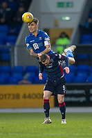 29th December 2019; McDairmid Park, Perth, Perth and Kinross, Scotland; Scottish Premiership Football, St Johnstone versus Ross County; Jason Kerr of St Johnstone climbs over Billy McKay of Ross County to win the header - Editorial Use
