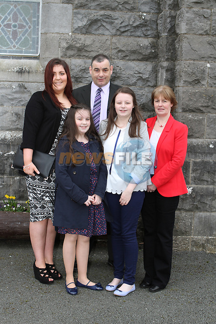 Leah Walsh with her family at her Confirmation at Tullyallen Church...(Photo credit should read Jenny Matthews/NEWSFILE)...