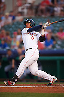 Tri-City ValleyCats designated hitter Cesar Carrasco (9) at bat during a game against the Brooklyn Cyclones on September 1, 2015 at Joseph L. Bruno Stadium in Troy, New York.  Tri-City defeated Brooklyn 5-4.  (Mike Janes/Four Seam Images)