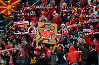 Maryland Terrapins fans. The Notre Dame Fighting Irish defeated the Maryland Terrapins 2-1 during the championship match of the division 1 2013 NCAA  Men's Soccer College Cup at PPL Park in Chester, PA, on December 15, 2013.
