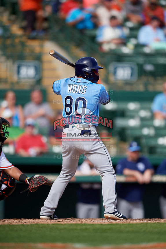 Tampa Bay Rays pinch hitter Kean Wong (80) at bat during a Grapefruit League Spring Training game against the Baltimore Orioles on March 1, 2019 at Ed Smith Stadium in Sarasota, Florida.  Rays defeated the Orioles 10-5.  (Mike Janes/Four Seam Images)