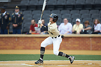 Michael Turconi (6) of the Wake Forest Demon Deacons follows through on his swing against the Miami Hurricanes at David F. Couch Ballpark on May 11, 2019 in  Winston-Salem, North Carolina. The Hurricanes defeated the Demon Deacons 8-4. (Brian Westerholt/Four Seam Images)