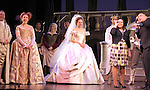 Peter Bartlett, Harriet Harris, Laura Osnes & Santino Fontana with the Broadway cast of 'Rodgers + Hammerstein's Cinderella' host a wedding proposal on stage at the Broadway Theatre. Alan Chau proposes to Maria Roca. Alan is a sergent in NYC's  19th police precinct and Maria works in the Department of Environmental Protection. New York City on 1/28/2013