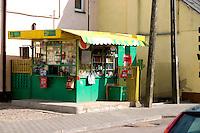 Shop or kiosk on the street in Poland.  Rawa Mazowiecka  Central Poland