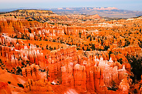 red, orange and white hoodoos, aka tent rocks, fairy chimneys, and earth pyramids, Bryce Canyon National Park, Utah, USA