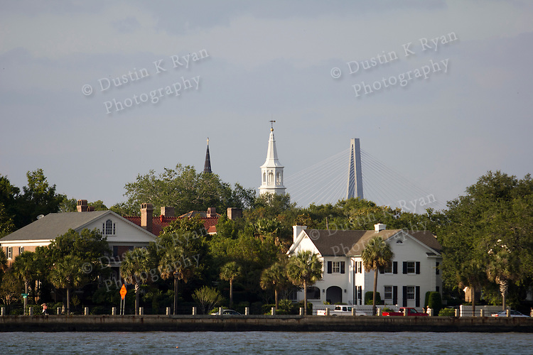 Charleston Battery waterfront church steeples and cooper river bridge