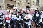Michal Kwiatkowski (POL), Rigoberto Uran Uran (COL), Mark Cavendish (GBR) Omega Pharma-Quick Step arrive at sign on in San Gimignano before the start of the 2014 Strade Bianche race over the white dusty gravel roads of Tuscany, Italy. 8th March 2014.<br /> Picture: Eoin Clarke www.newsfile.ie