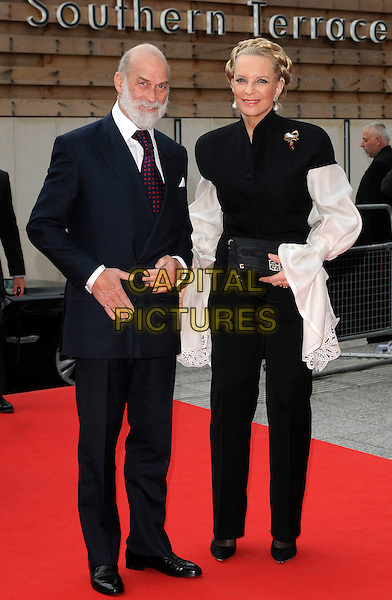 "HRH PRINCE & PRINCESS MICHAEL OF KENT .At the World Film Premiere of ""Prince of Persia: The Sands Of Time"", Vue cinema at Westfield shopping centre, London, England, 9th May 2010..arrivals full length royal black navy blue red tie suit white floaty sleeve sleeves trousers top blouse shirt clutch bag husband wife couple beard facial hair .CAP/CAN.©Can Nguyen/Capital Pictures."