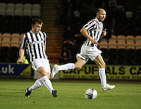 Paul McGowan (left) and Sam Parkin in the St Mirren v Hamilton Academical Scottish Communities League Cup match played at St Mirren Park, Paisley on 25.9.12.