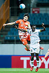 Adelaide United Forward Papa Babacar Diawara (R) fights for the ball with Jeju United Defender Oh Bansuk (L) during the AFC Champions League 2017 Group Stage - Group H match between Jeju United FC (KOR) vs Adelaide United (AUS) at the Jeju World Cup Stadium on 11 April 2017 in Jeju, South Korea. Photo by Marcio Rodrigo Machado / Power Sport Images