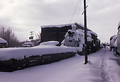 Chama yard and engine house in winter.  D&amp;RGW #484 and flat car #6708 are identifiable.<br /> D&amp;RGW  Chama, NM