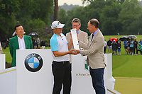 Alex Noren receives his trophy during the BMW PGA Golf Championship at Wentworth Golf Course, Wentworth Drive, Virginia Water, England on 28 May 2017. Photo by Steve McCarthy/PRiME Media Images.