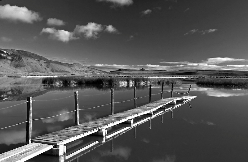 Observation pier at Summer Lake wildlife Refuge, Oregon