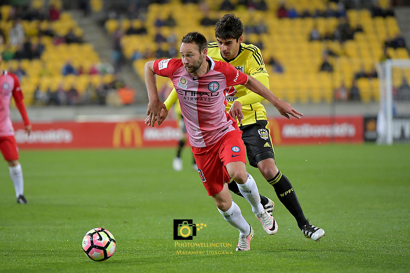 Wellington Phoenix&rsquo;  Guilherme Finkler and Melbourne City FC's Joshua Rose in action during the A League - Wellington Phoenix v Melbourne City FC at Westpac Stadium, Wellington, New Zealand on Saturday 8 October 2016.<br /> Photo by Masanori Udagawa. <br /> www.photowellington.photoshelter.com.