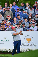 Patrick Reed (USA) watches his tee shot on 4 during round 3 Four-Ball of the 2017 President's Cup, Liberty National Golf Club, Jersey City, New Jersey, USA. 9/30/2017.<br /> Picture: Golffile | Ken Murray<br /> <br /> All photo usage must carry mandatory copyright credit (&copy; Golffile | Ken Murray)