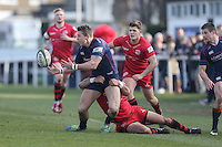 Match action during the Greene King IPA Championship match between London Scottish Football Club and Jersey at Richmond Athletic Ground, Richmond, United Kingdom on 18 February 2017. Photo by David Horn / PRiME Media Images.
