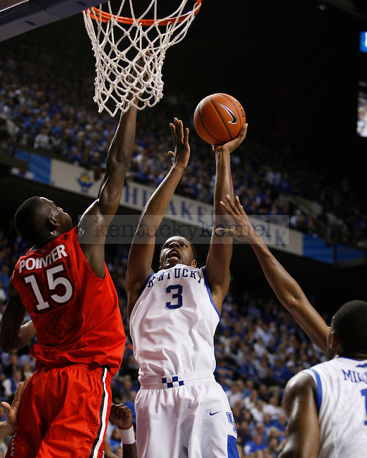 Terrence Jones and Sir'Dominic Pointer go up for the ball at Rupp Arena, in Lexington, Ky., on Thursday, Dec. 1, 2011. Kentucky beat St. Johns University 81-59.  Photo by Latara Appleby | Staff ...