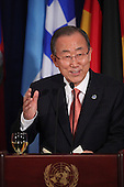 United Nations Secretary-General Ban Ki-moon offers a toast at a luncheon attended by United States President Barack Obama at the United Nations 69th General Assembly in New York, New York on Wednesday, September 24, 2014.<br /> Credit: Allan Tannenbaum / Pool via CNP