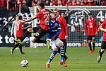 11.05.2019, BayArena, Leverkusen, GER, 1. FBL, Bayer 04 Leverkusen vs. FC Schalke 04 ,<br />  <br /> DFL regulations prohibit any use of photographs as image sequences and/or quasi-video<br /> <br /> im Bild / picture shows: <br /> Omar Mascarell (FC Schalke #6), im Zweikampf gegen  Charles Ar&aacute;nguiz (Leverkusen #20), <br /> <br /> Foto &copy; nordphoto / Meuter