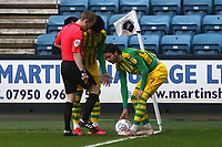 players have trouble with the ball being blown away when trying to take a corner during Millwall vs West Bromwich Albion, Sky Bet EFL Championship Football at The Den on 9th February 2020