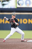 Maryland Terrapins second baseman Nick Dunn (39) turns a double play against the Michigan Wolverines on April 13, 2018 in a Big Ten NCAA baseball game at Ray Fisher Stadium in Ann Arbor, Michigan. Michigan defeated Maryland 10-4. (Andrew Woolley/Four Seam Images)
