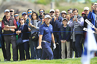 Jon Rahm (ESP) in a bunker at the 10th green during Round 3 of the Open de Espana 2018 at Centro Nacional de Golf on Saturday 14th April 2018.<br /> Picture:  Thos Caffrey / www.golffile.ie<br /> <br /> All photo usage must carry mandatory copyright credit (&copy; Golffile | Thos Caffrey)
