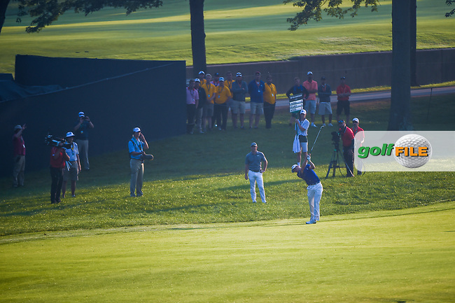 Justin Thomas (USA) hits his approach shot on 9 during 2nd round of the 100th PGA Championship at Bellerive Country Club, St. Louis, Missouri. 8/11/2018.<br /> Picture: Golffile | Ken Murray<br /> <br /> All photo usage must carry mandatory copyright credit (© Golffile | Ken Murray)