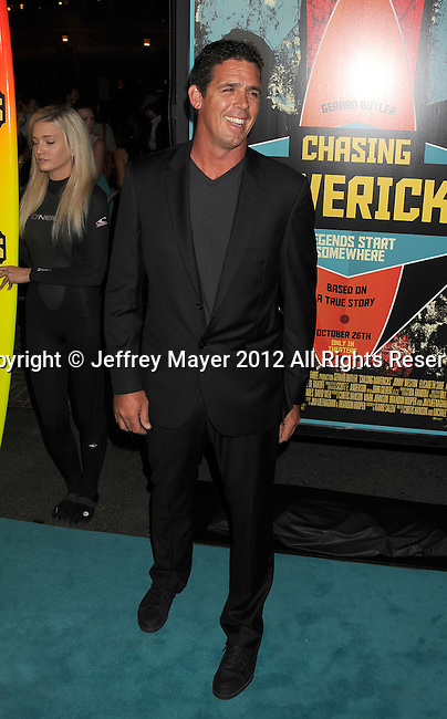 LOS ANGELES, CA - OCTOBER 18: Peter Mel arrives at the 'Chasing Mavericks' - Los Angeles Premiere at Pacific Theaters at the Grove on October 18, 2012 in Los Angeles, California.
