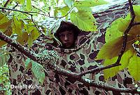 HU14-048x  Ruby-throated Hummingbird - boy inside blind observing nest -  Archilochus colubris