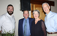 NWA Democrat-Gazette/CARIN SCHOPPMEYER Dustin Sheppard (from left), Gary Oliver and Ann and Paul Dubbell enjoy Seeds of Hope on July 27 at the Barn at the Springs in Springdale.