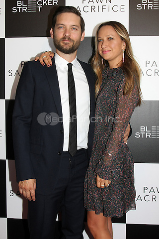 "LOS ANGELES - SEP 8: Tobey Maguire, Jennifer Meyer at the ""Pawn Sacrifice"" LA Premiere at the Writer's Guild Theater on September 8, 2015 in Beverly Hills, CA Credit: David Edwards/MediaPunch"