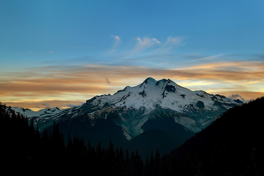 East face of Glacier Peak viewed from Buck Creek Pass at sunset, Cascade Mountains, Snohomish County, Washington