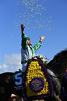 DEL MAR, CA - NOVEMBER 04: Irad Ortiz Jr., aboard Bar of Gold #5 celebrates winning the Breeders' Cup Filly & Mare Sprint race on Day 2 of the 2017 Breeders' Cup World Championships at Del Mar Thoroughbred Club on November 4, 2017 in Del Mar, California. (Photo by Bob Mayberger/Eclipse Sportswire/Breeders Cup)