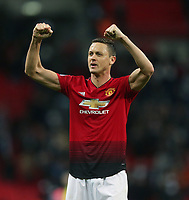 Manchester United's Nemanja Matic celebrates at the end of the game<br /> <br /> Photographer Rob Newell/CameraSport<br /> <br /> The Premier League - Tottenham Hotspur v Manchester United - Sunday 13th January 2019 - Wembley Stadium - London<br /> <br /> World Copyright &copy; 2019 CameraSport. All rights reserved. 43 Linden Ave. Countesthorpe. Leicester. England. LE8 5PG - Tel: +44 (0) 116 277 4147 - admin@camerasport.com - www.camerasport.com
