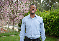 Dean's Award for Service recipient Jacques Lesure '19<br /> Photo taken April 30, 2019 outside Lower Herrick.<br /> (Photo by Marc Campos, Occidental College Photographer)