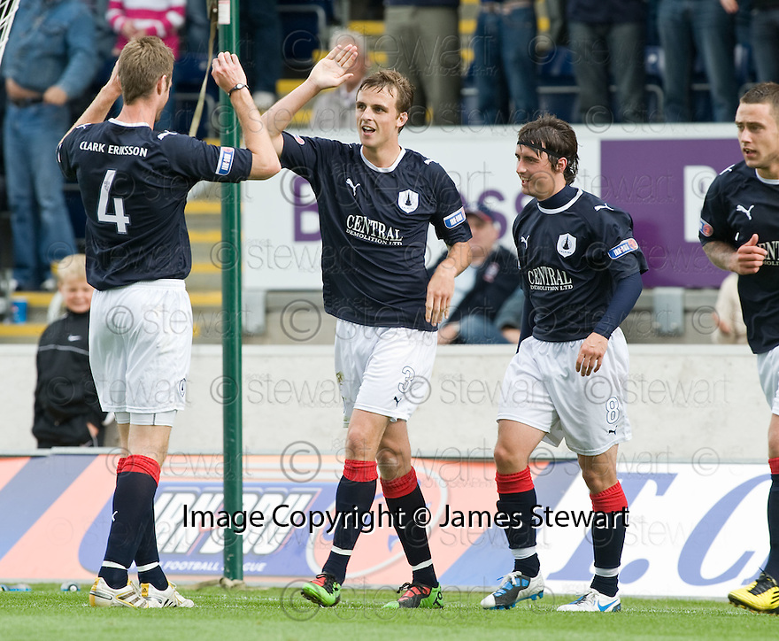 21/08/2010   Copyright  Pic : James Stewart.sct_jsp010_falkirk_v_stirling_alb  .:: MARK TWADDLE CELEBRATES  WITH BRIAN MCLEAN AFTER HE SCORES THE FIRST :: .James Stewart Photography 19 Carronlea Drive, Falkirk. FK2 8DN      Vat Reg No. 607 6932 25.Telephone      : +44 (0)1324 570291 .Mobile              : +44 (0)7721 416997.E-mail  :  jim@jspa.co.uk.If you require further information then contact Jim Stewart on any of the numbers above.........