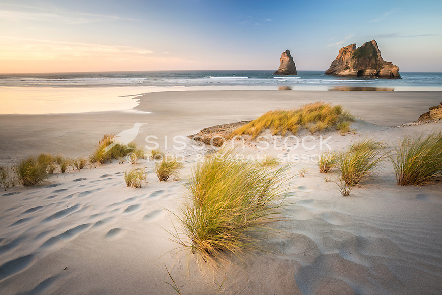 Sunset, Wharariki Beach, Golden Bay, New Zealand - stock photo, canvas, fine art print
