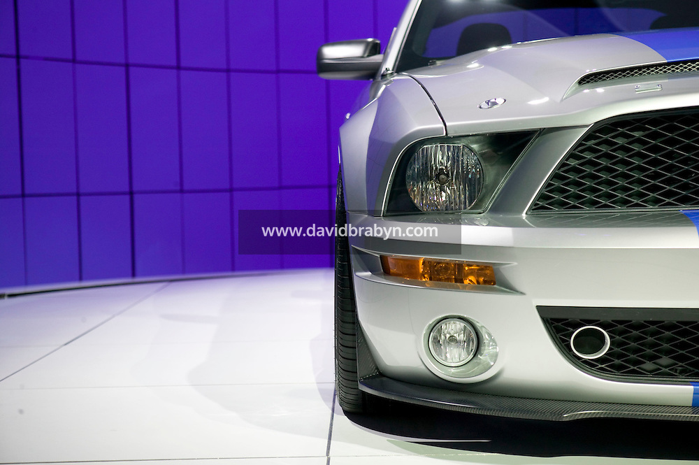 4 April 2007 - New York City, NY - A 540-horsepower King of the Road Mustang, the Shelby GT500KR, finished by the racecar legend Carroll Shelby, stands on display on day one of the press preview at the New York International Auto Show in New York City, USA, 4 April 2007.